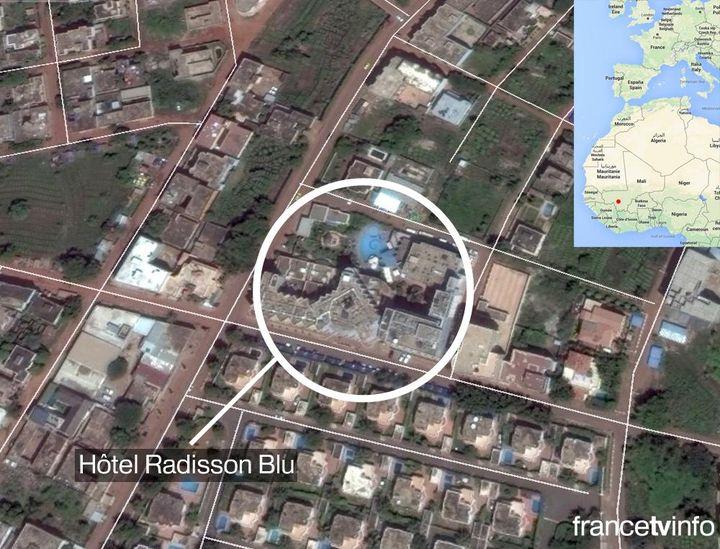 L'emplacement de l'hôtel Radisson Blu à Bamako (Mali), le 20 novembre 2015. (francetv info)