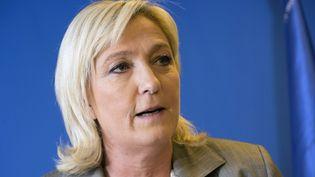 La présidente du Front national, Marine Le Pen, lors de sa conférence de presse au soir du second tour des départementales, le 29 mars 2015 à Nanterre (Hauts-de-Seine). (MIGUEL MEDINA / AFP)