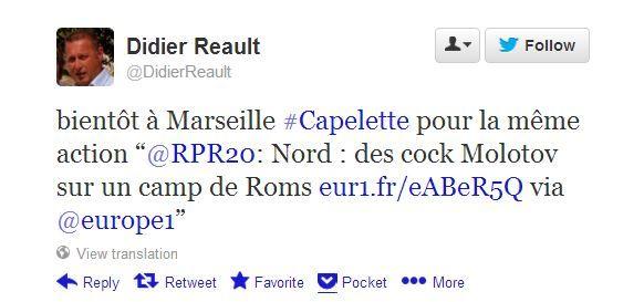 Capture écran du tweet envoyé par l'élu UMP Didier Réault, qui encourage à lancer des cocktails Molotov contre les Roms, le 8 juin 2013. (CAPTURE ÉCRAN / FRANCETV INFO)