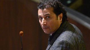 Francesco Schettino, l'ex-commandant du Costa Concordia, lors du dernier jour de son procès, le 11 février 2015, à Grossetto (Italie). (ALBERTO PIZZOLI / AFP)