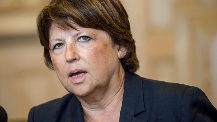 Martine Aubry lors d'une conférence de presse, le 8 septembre 2014 à Lille (Nord). (PHILIPPE HUGUEN / AFP)