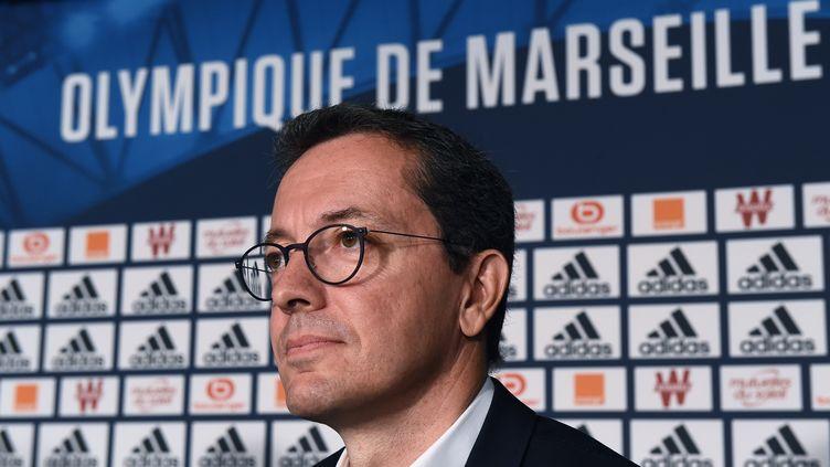 Le président de l'Olympique de Marseille, Jacques-Henri Eyraud. (BORIS HORVAT / AFP)