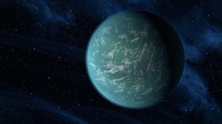 Un artiste a réalisé une représentation de la planète Kepler 22 découverte le 5 décembre 2011. (NASA / AFP)