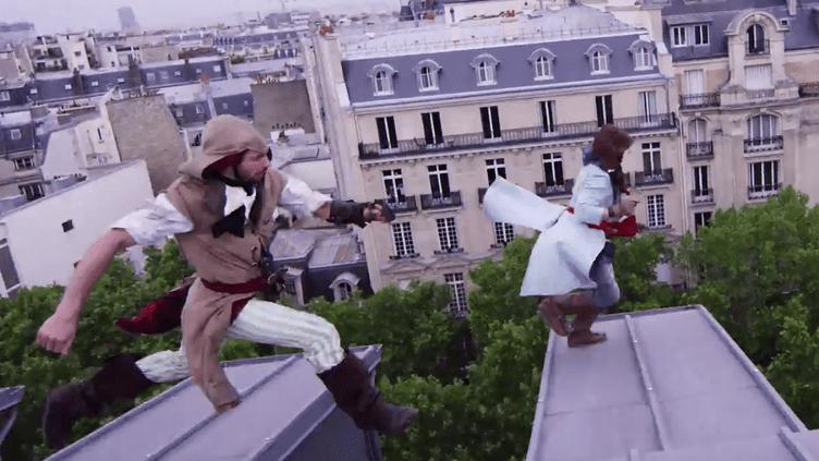 """Capture d'écran de la vidéo de Devin Super Tramp """"Assassin's Creed Unity Meets Parkour in Real Life"""". ( YOUTUBE)"""