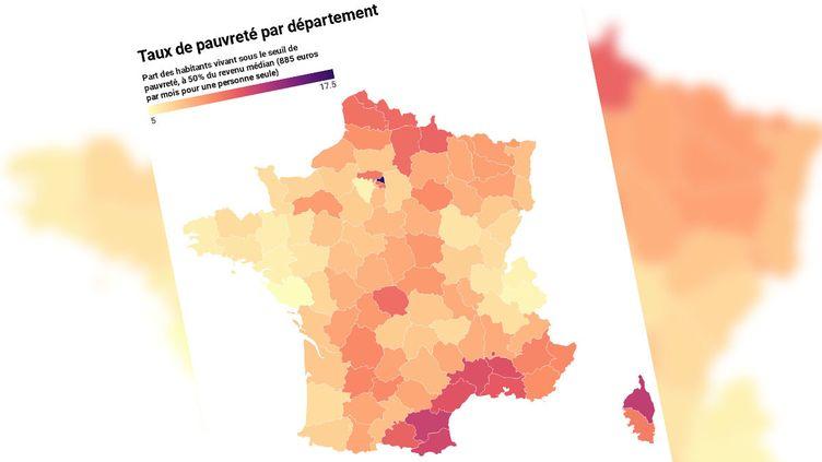 Le taux de pauvreté varie grandement d'un département à un autre. (CAPTURE D'ECRAN / FRANCEINFO)