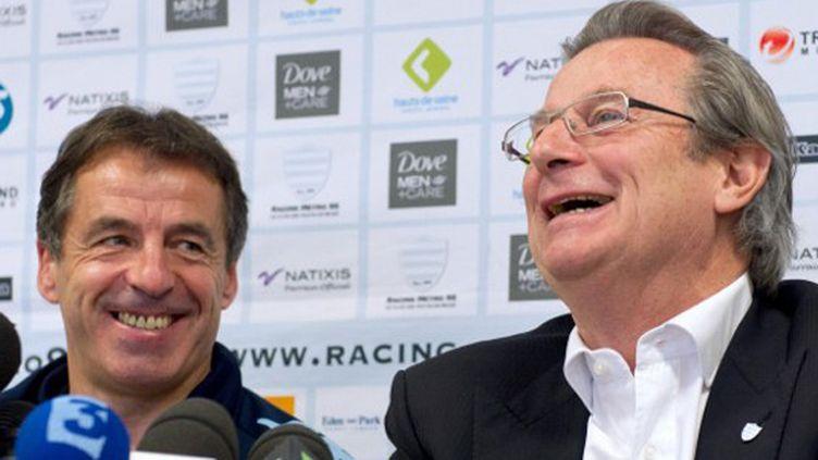 Jacky Lorenzetti, le président du racing-Métro, et Pierre Berbizier, le manageur, tout sourire