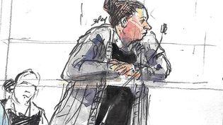 Inès Madani lors de son procès en première instance devant la cour d'assises spéciale de Paris, le 11 avril 2019. (BENOIT PEYRUCQ / AFP)
