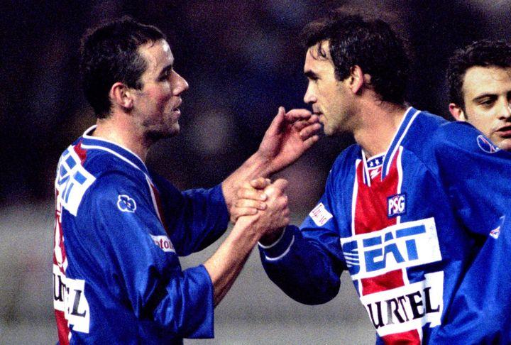 Ricardo, ici avec Paul Le Guen et Alain Roche en 1995