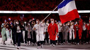 La délégation française lors de la cérémonie d'ouverture des JO à Tokyo, le 23 juillet 2021. (Odd ANDERSEN / AFP)