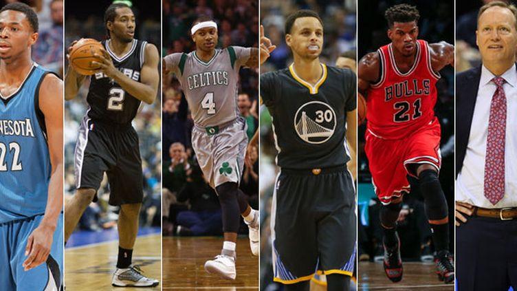 Andrew Wiggins (Minnesota), Kawhi Leonard (San Antonio), Isaiah Thomas (Boston), Stephen Curry (Golden State), Jimmy Butler (Chicago) et Mike Budenholzer (Atlanta), les lauréats de la saison NBA selon Francetv Sport