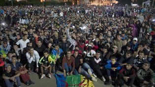 Manifestation de soutien au pécheur mort dans des circonstances non expliquées à Hoceima au Maroc. (FADEL SENNA / AFP)