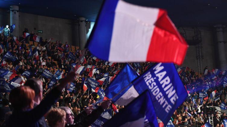 Drapeaux et banderoles brandis lors d'un meeting de la candidate du Front national Marine Le Pen, le 26 mars 2017 à Lille (Nord). (ALAIN JOCARD / AFP)