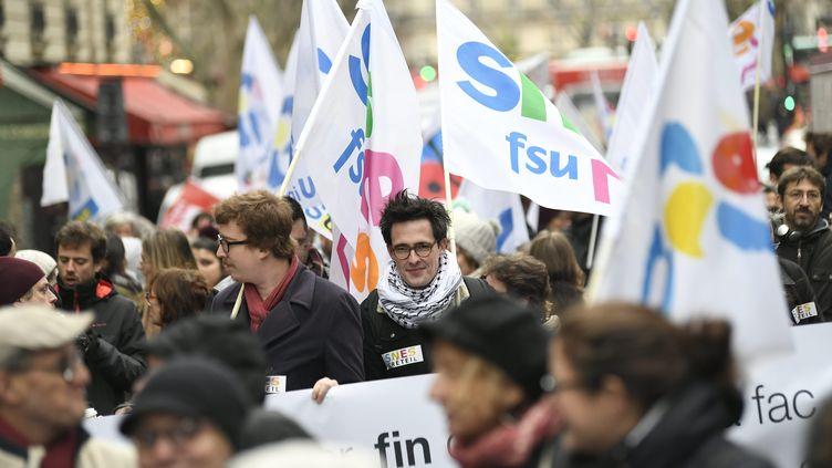 Mobilisation des syndicats d'enseignants à Paris le 14 décembre 2017. (JULIEN MATTIA / LE PICTORIUM / MAXPPP)