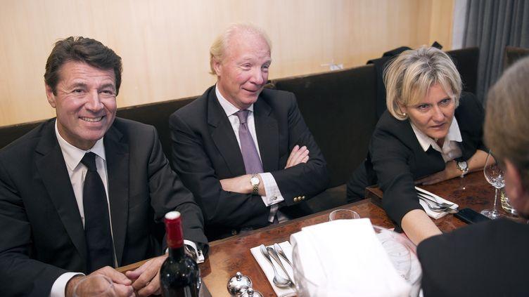Christian Estrosi, Brice Hortefeux et Nadine Morano, dirigeants de l'Association des Amis de Nicolas Sarkozy, le 9 octobre 2012 lors d'un déjeuner à Paris. (LIONEL BONAVENTURE / AFP)
