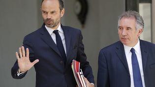 Edouard Philippe et François Bayrou le 31 mai à l'Elysée. (PATRICK KOVARIK / AFP)