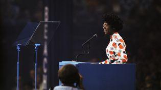 Shirley Chisholm lors de son discours au podium de la Convention nationale des démocrates de 1972. (BETTMANN / BETTMANN)