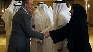L'ancien roi Juan Carlos, le 14 avril 2014, lors d'une visite à Abou Dhabi (Emirats arabes unis). (KARIM SAHIB / AFP)