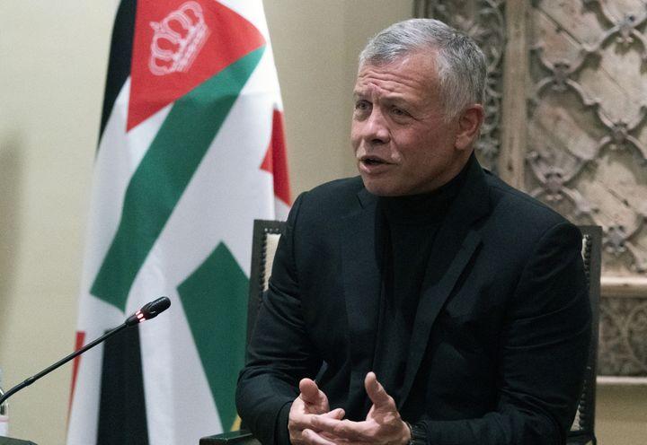 Le roi de Jordanie Abdallah II lors d'une rencontre avec le secrétaire d'Etat américain, le 26 mai 2021 à Amman. (ALEX BRANDON / POOL)
