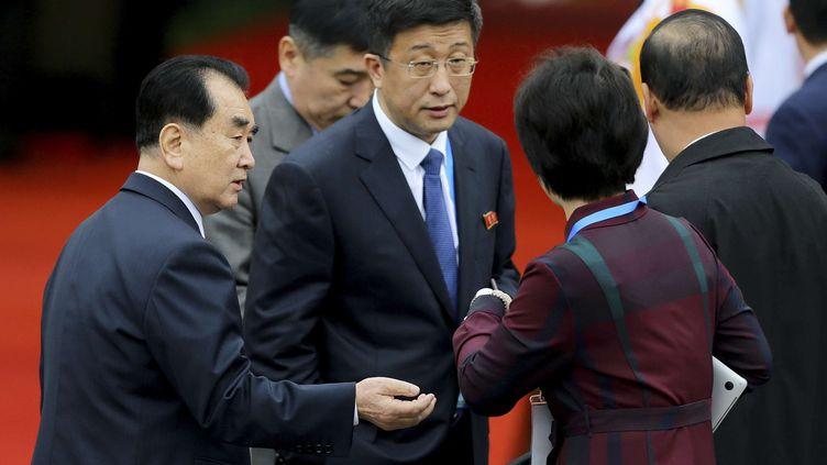 L'émissaire spécial nord-coréen pour les Etats-Unis, Kim Hyok-chol, à la gare de Dong Dang (Vietnam), le 26 février 2019, avant l'arrivée deKim Jong-unpour le second sommet avec Donald Trump. (MINH HOANG/AP/SIPA)