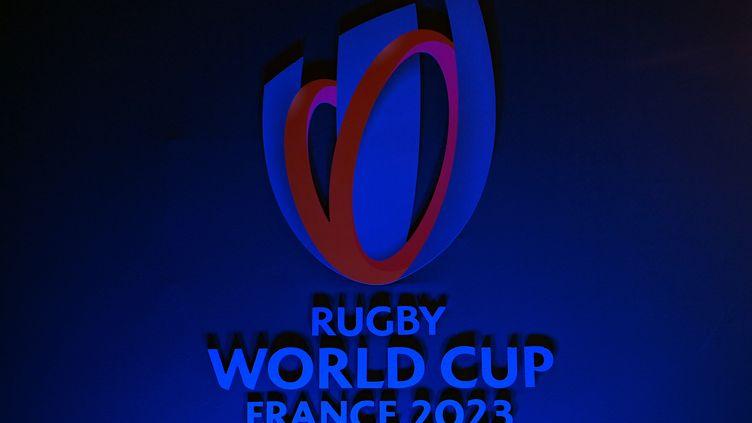 Le logo de la Coupe du monde de rugby en France en 2023. (FRANCK FIFE / AFP)
