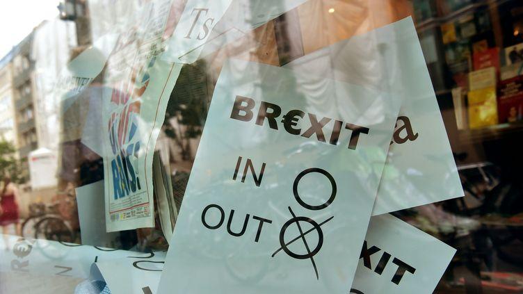 Des affichettes représentant de faux bulletins de vote pour ou contre le Brexit dans une vitrine d'une librairie de Berlin (Allemagne) le 24 juin 2016. (JOHN MACDOUGALL / AFP)