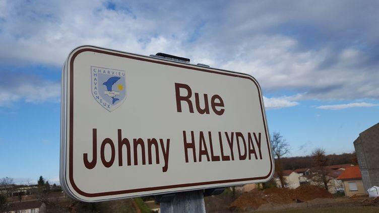 Un des panneaux de la rue Johnny-Hallyday, àCharvieu-Chavagneux (Isère). (DR)