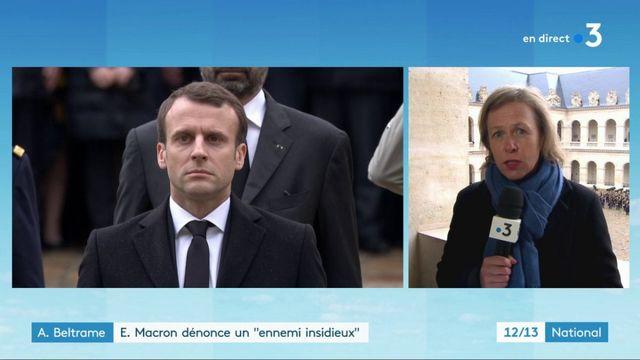 """Hommage à Arnaud Beltrame : Emmanuel Macron dénonce """"l'islamisme rampant"""" sur les réseaux sociaux"""