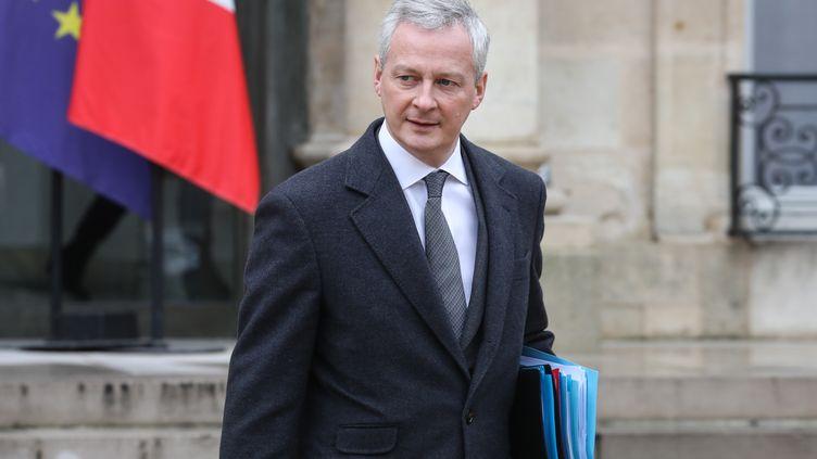 Le ministre de l'Economie Bruno Le Maire à la sortie du Conseil des ministres, à l'Elysée, le 23 janvier 2019. (LUDOVIC MARIN / AFP)