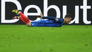 Antoine Griezmann fête son but lors du quart de finale de l'Euro 2016 contre l'Islande, le 3 juillet 2016 au Stade de France. (FRANCK FIFE / AFP)