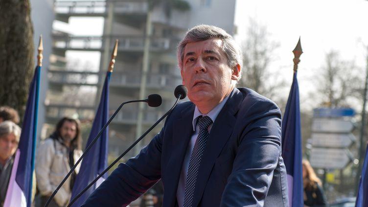 Henri Guaino lors de la cérémonie d'inauguration du square Charles-Pasqua, au Plessis-Robinson (Hauts-de-Seine), le 12 mars 2016. (SERGE TENANI / CITIZENSIDE / AFP)