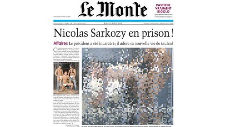 La Une (floutée) du numéro d'été du journal satirique Le Monte. (DR)