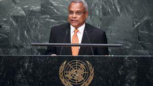 Le nouveau Président capverdien,JoséMaria Pereira Neves, lors d'une prise de paroleàl'Assemblée générale des Nations Unies à l'ONU à New York, le 1er octobre 2015. (JEWEL SAMAD / AFP)