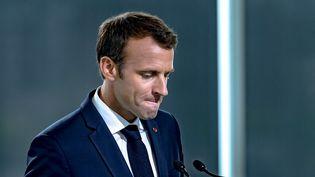 Emmanuel Macron lors d'une visite officielle au Canada avant le sommet du G7, le 7 juin 2018. (DAVID HIMBERT / HANS LUCAS / AFP)