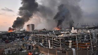 Leport de Beyrouth après l'explosion causée par dunitrate d'ammonium, au Liban, le 4 août 2020. (STR / AFP)