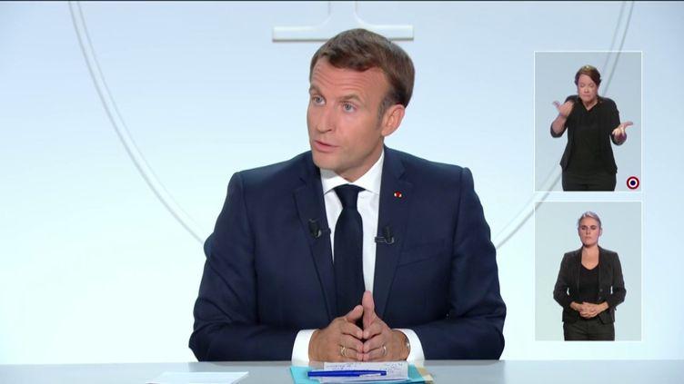Emmanuel Macron lors de son intervention sur le Covid-19, le 14 octobre 2020. (FRANCE TELEVISIONS)