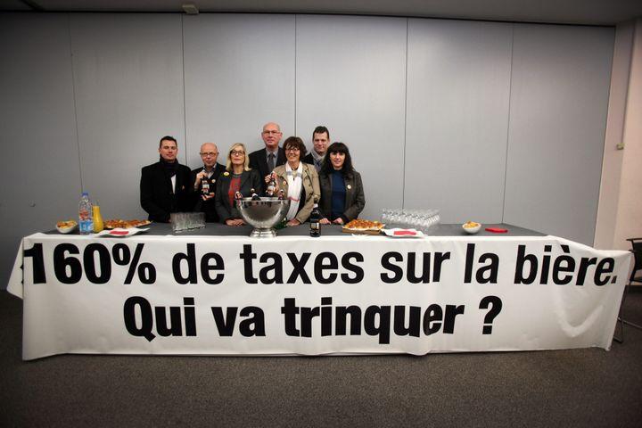 Conférence de presse de brasseurs, le 12 novembre 2012, à Lille. ( MAXPPP)
