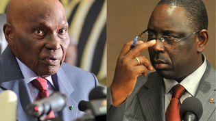 Abdoulaye Wade, à gauche, président sortant du Sénégal, affrontera Macky Sall, à droite, son ancien Premier ministre, au deuxième tour de la présidentielle sénégalaise. (FABRICE COFFRINI / AFP)