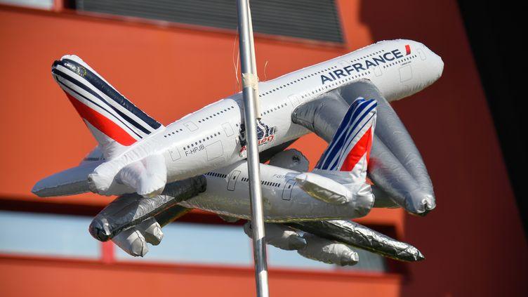 Des avions gonflables, pendant une grève d'Air France, le 22 février 2018, à l'aéroport de Roissy-Charles de Gaulle. (JULIEN MATTIA / NURPHOTO / AFP)