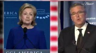 Hillary Clinton et Jeb Bush. (CAPTURE D'ÉCRAN FRANCE 2)