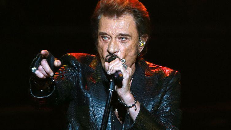 Le chanteur Johnny Hallyday en concert à Moscou, le 27 octobre 2012 (ANTON DENISOV / SPUTNIK)
