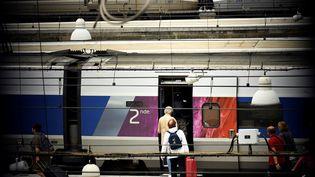 Des voyageurs embarquent dans un train à la gare Montparnasse, mardi 1er août 2017.Le trafic ferroviaire y est perturbé depuis dimanche en raison d'une panne de signalisation. (LIONEL BONAVENTURE / AFP)