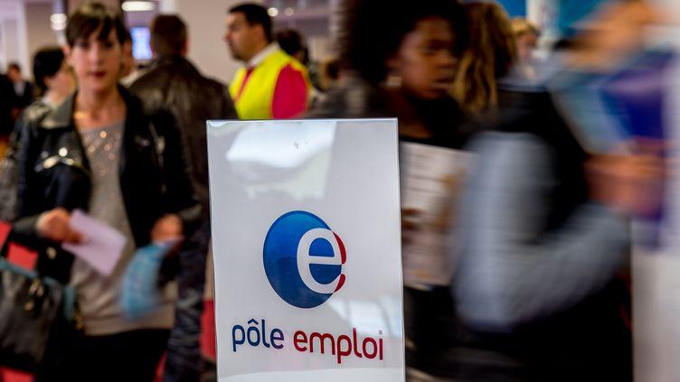 Le stand du Pôle emploi dans un salon pour l'emploi à Lille (Nord), le 28 mai 2015. (PHILIPPE HUGUEN / AFP)