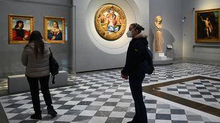 A Florence, le musée des Offices a rouvert ses portes après 77jours de fermeture (21 janvier 2021) (VINCENZO PINTO / AFP)