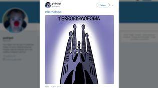 Un dessinateur rend hommage aux victimes des attentats survenus en Catalogne (Espagne), le 17 août 2017. (TWITTER)