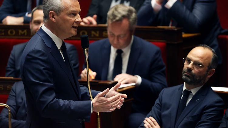 Le ministre de l'Economie et des Finances, Bruno Le Maire, le 13 mars 2019, à l'Assemblée nationale. (THOMAS SAMSON / AFP)