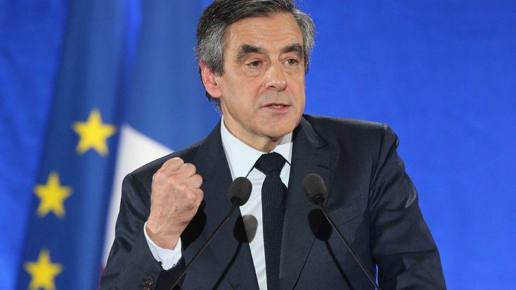 Le candidat à la présidentielle Les Républicains François Fillon tient un meeting à Charleville-Mézières le 2 février 2017. (FRANCOIS NASCIMBENI / AFP)