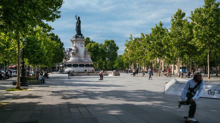 La place de la République à Paris, le 8 mai 2020. (MATHIEU MENARD / HANS LUCAS / AFP)