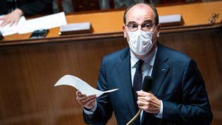Le Premier ministre, Jean Castex, le 20 juillet 2021 à l'Assemblée nationale à Paris. (XOSE BOUZAS / HANS LUCAS / AFP)