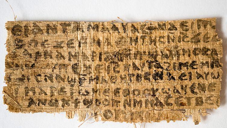 """Sur le papyrus, rédigé en copte, cette phrase :""""Et Jésus leur a dit, ma femme..."""" (AFP PHOTO / HARVARD DIVINITY SCHOOL / KAREN L. KING)"""