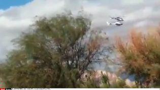 Capture écran d'une vidéo du crash de deux hélicoptères à La Rioja (Argentine), le 10 mars 2015. (JOSE ALAMO / RADIO 7 / SIPA)